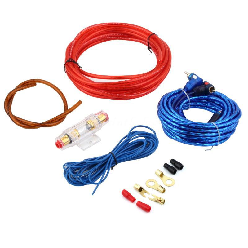 800W Car Audio Wire Wiring Amplifier Subwoofer Speaker Installation Kit 14GA Power Cable 60 AMP Fuse Holder for Sedan SUV 4WD