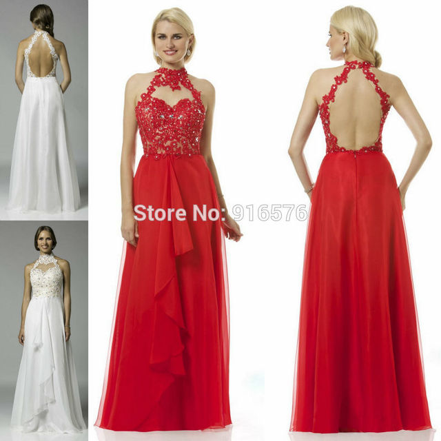 Beaded Floral Embellished Evening Gown With Halter Neckline White Lace Prom  Dresses Stones Floor Length 2015 Red ccd932cafd89