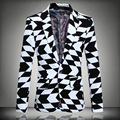 Geometric patterns black and white plaids printing high-end brazer 2016 Autumn&Winter fashion casual boutique brazer men M-5XL