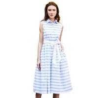 Shirt Dress Women Summer Dress 2017 Fashion Korean Female Sleeveless White And Blue Striped Cotton Casual Dresses For Ladies