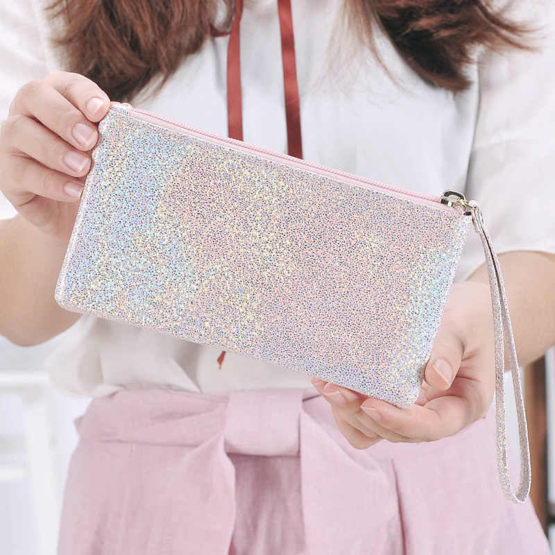 ETya простые женские кошельки из искусственной кожи с блестками, клатч на молнии, кошелек для монет, сумка для телефона, портативная сумочка для ключей, косметики, сумки для хранения