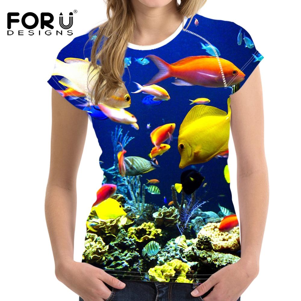 FORUDESIGNS Royal kék póló női felső ing tengeri világ hal - Női ruházat