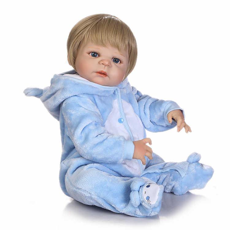 NPK 22 дюймов 56 см reborn куклы с светлые волосы полный винил мальчик кукла для детей Рождество подарок на день рождения