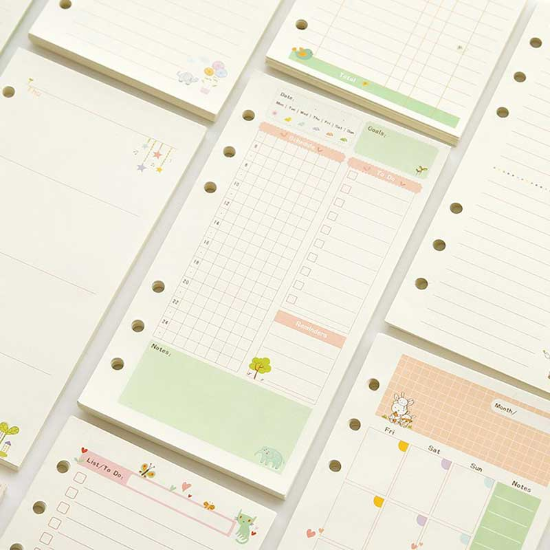 Cute Cartoon Nulticolor Notebook Filler Papers A5/A6 Color Inner Core Planner Inside Page Gift Stationery