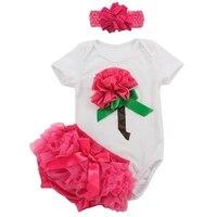 Rosa 3D Flor Menina Roupa Do Bebê Recém-nascido Bodysuit Plissado Bloomers Headband Aniversário Da Criança Outfits Conjuntos de Roupas de Verão Meninas