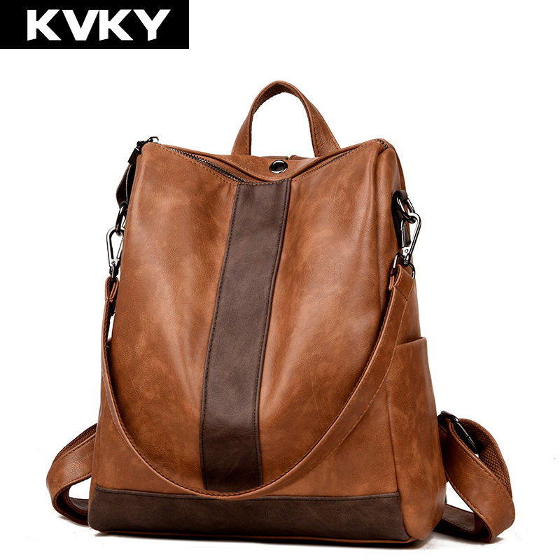 KVKY Brand Vintage Women Backpack High Quality Soft Leather School Bag For Teenagers Girls Female Travel Casual Rucksack Mochila vintage casual small women printing backpack ladies casual preppy style school bag teenager girls female travel rucksack mochila