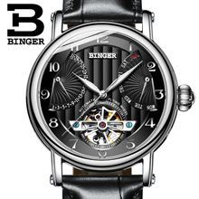 2017 NEW men's watch luxury brand BINGER business sapphire Water Resistant leather strap Mechanical Wristwatches B-1172-4