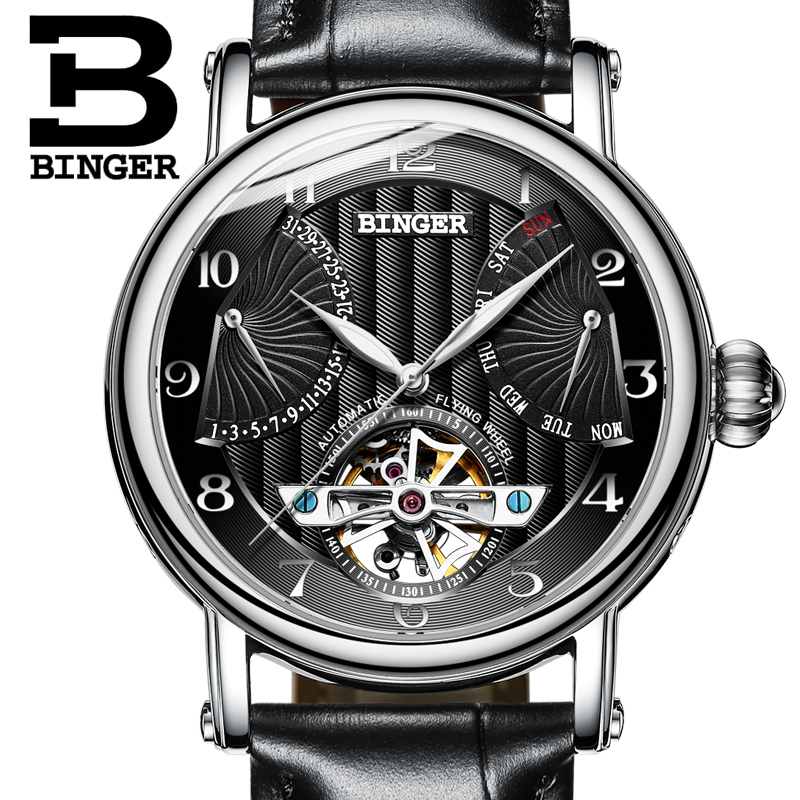 2018 NEW mens watch luxury brand BINGER business sapphire Water Resistant leather strap Mechanical Wristwatches B-1172-42018 NEW mens watch luxury brand BINGER business sapphire Water Resistant leather strap Mechanical Wristwatches B-1172-4