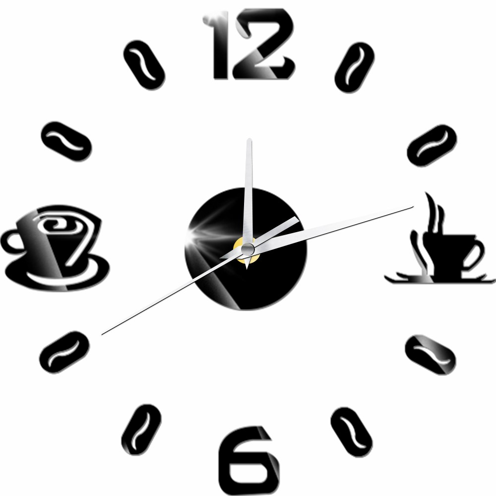 3D DIY Digital Number Coffee Cup  Acrylic Clock Self-adhensive Quartz Non-ticking Wall Clock Kitchen Home Decor