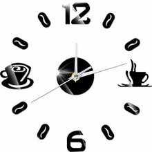 3D DIY Digital Number Coffee Cup  Acrylic Clock Self-adhensive Quartz Non-ticking Wall Clock Kitchen Home Decor цена в Москве и Питере