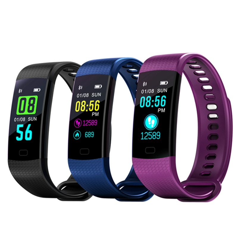 Hot Outdoor Sports Fitness Bracelet Y5 Smart Bracelet Bluetooth Heart Rate Calorie Monitor Fitness Tracker LED Color Smart Watch