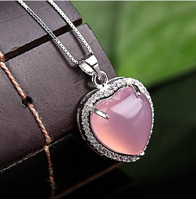 92c337df2 925 Sterling silver Natural semi-precious stones heart Necklace Korean  women jewelry love pink chalcedony Pendant