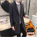 Men's Wool Coats & Jackets Winter Slim Cashmere Jacket Man Long Section Single Breasted Overcoat Turn-down Collar Casual Coat