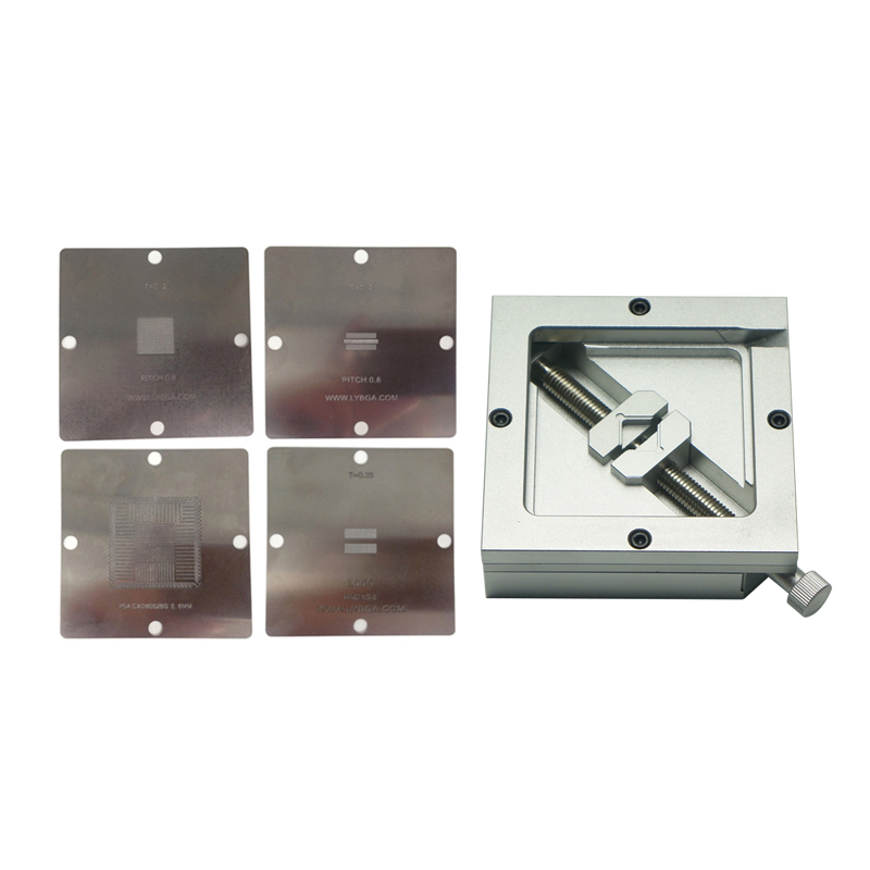 4PCS 90*90mm PS4 BGA Heating Stencils + HT-90 BGA Reballing Station For Chips Rework Bga Reballing