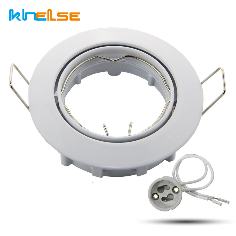 white round Recessed light spotlight halogen LED incl Base 230V GU10 ceiling spot light fitting MR16 fixture whit led bulbs 50mm networking cables