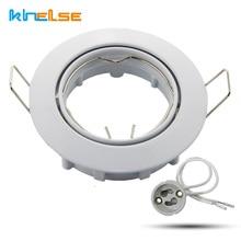 2pcs white round Recessed light spotlight halogen LED incl Base 230V GU10 ceiling spot light fitting