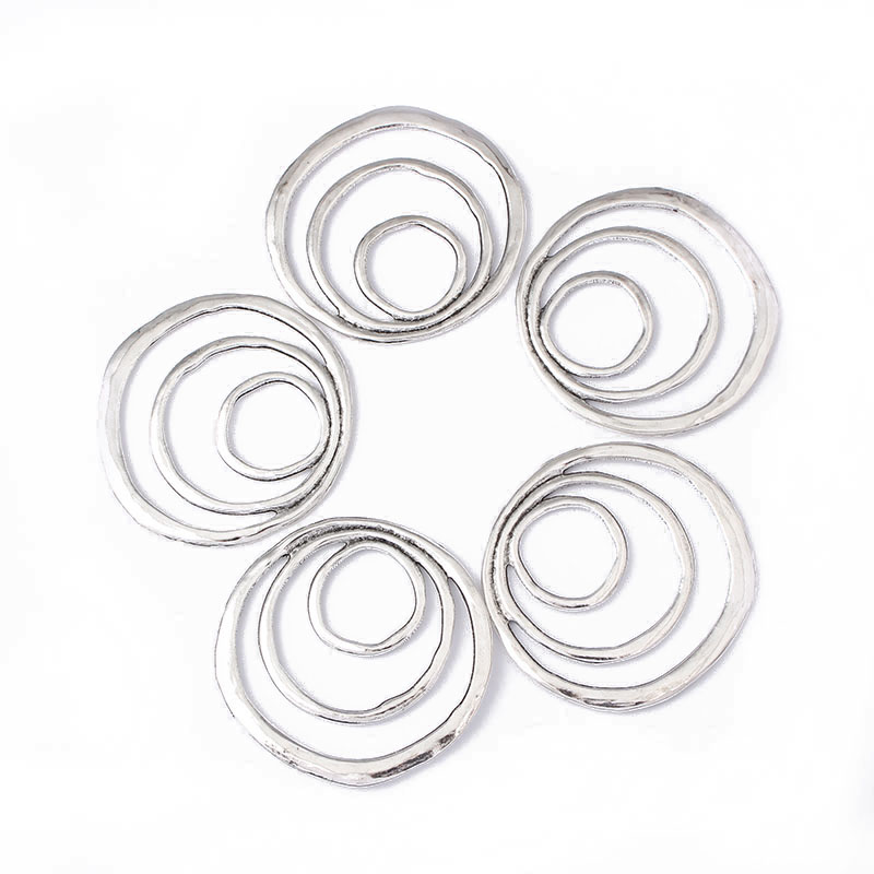 5pcs Silver Swirl Circle Charms Pendants Connector For Necklace Bracelet Jewelry DIY Findings