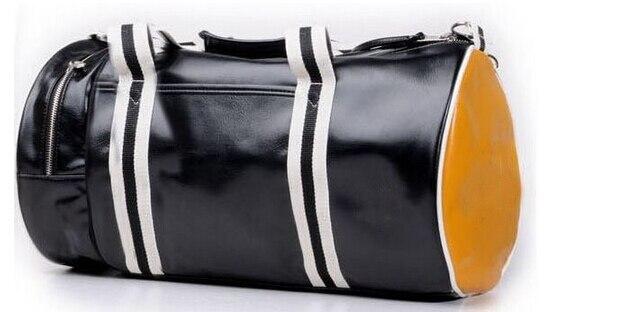 b88d23aee5c4 Men s Barrel Bag Shoulder Oblique cross PU Leather travelling GYM bag  perriedlys fashionable fredlys cylinder sports bag