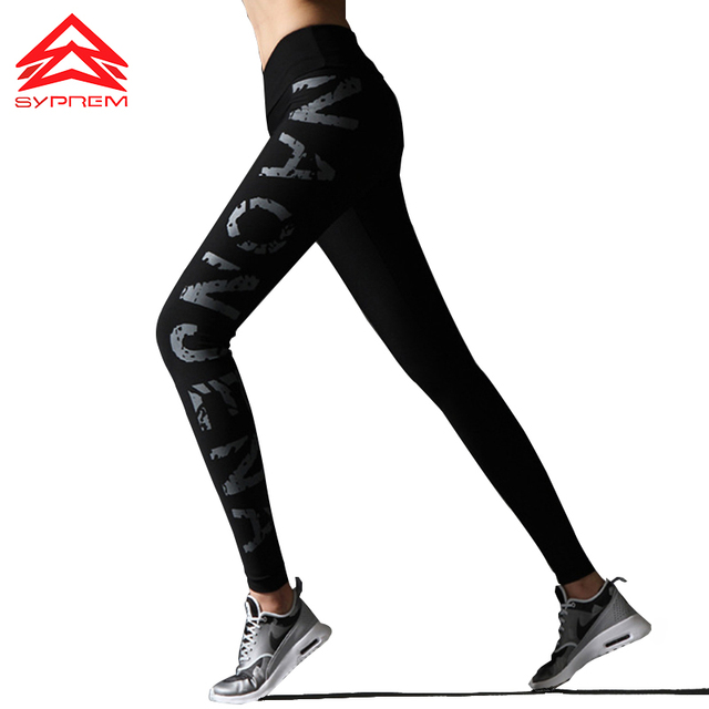 22093bee32 Syprem Black Yoga Leggings Flattering Workout Sports Pants Fitness Clothing Running  Tights Women High Waist Gym Pants,WY0453
