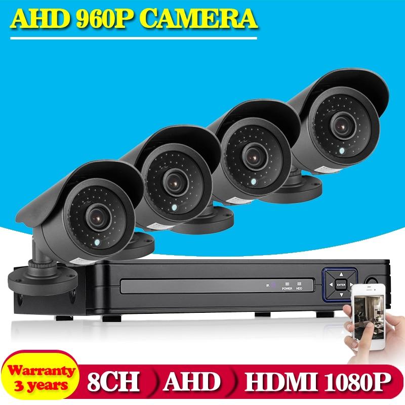 HD 8CH AHD 960P DVR Recorder 4PCS AHD 960P 1 3MP Outdoor Waterproof Cameras CCTV System