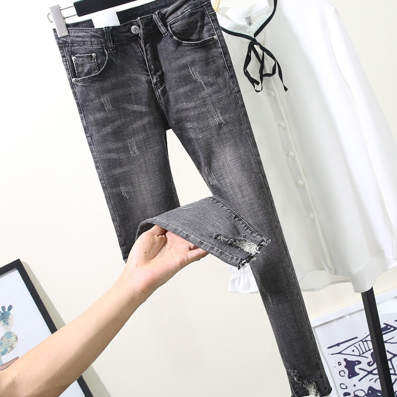 Smoke Gray Jeans For Women 2019 New Spring Summer High Waist Skinny Pencil Pants Ultra Long Elastic Ripped Hole Jeans Mujer