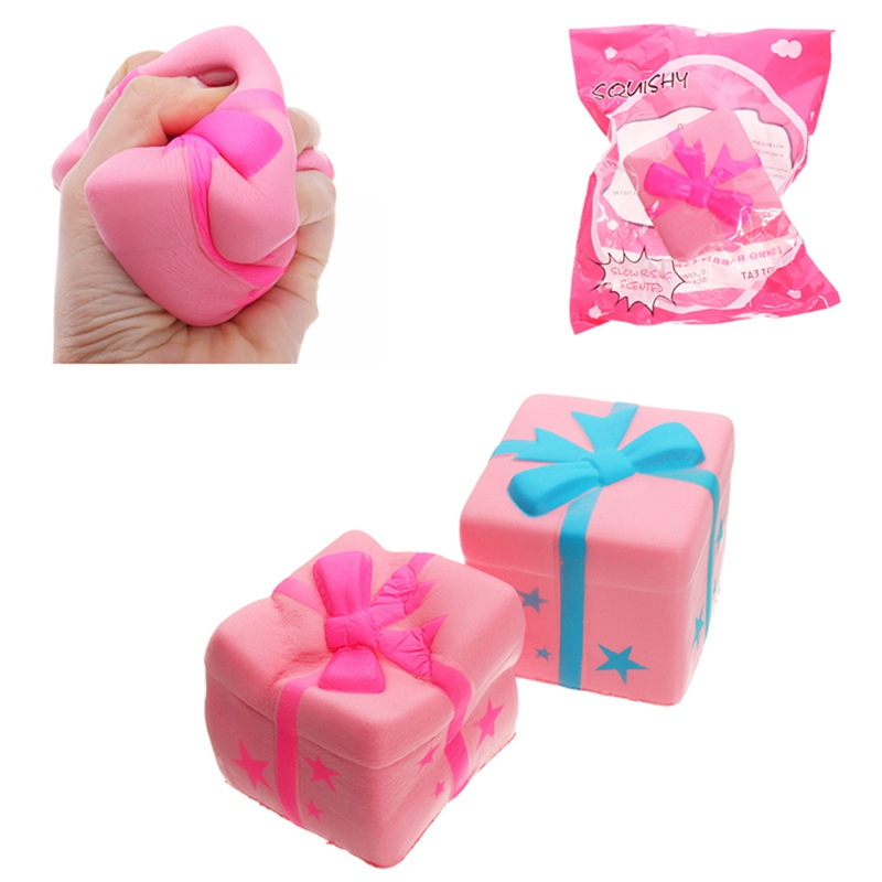 Portable Cute Gift Box Cake for Squishy Phone Strap Toy 7.5CM Slow Rising With Original Packaging Decor Toy Phone Straps