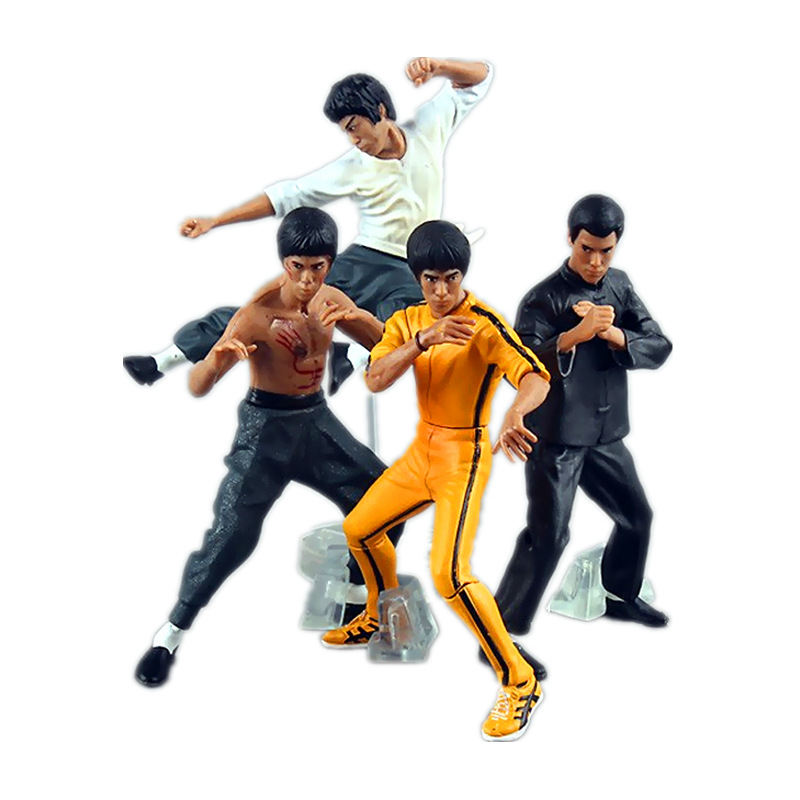 HKXZM 4pcs/set 10-13CM Cool Bruce Lee Kung Fu PVC Action Figures Toys Model Gift Collection with opp bag image