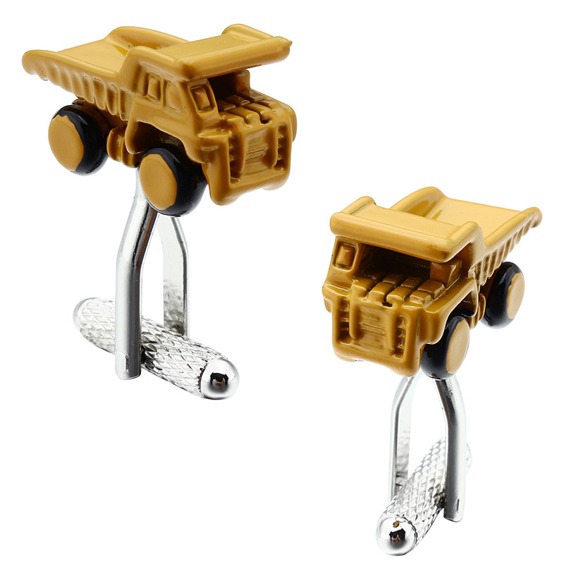 HAWSON Cufflinks Car for Kids Child Yellow Truck Design Mens Accessory Cuff links for Party