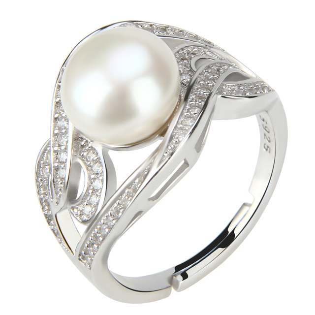 CLUCI sterling silver women wedding ring zirconia fashion clear white zircon gift jewelry wholesale pearls ring jewellery