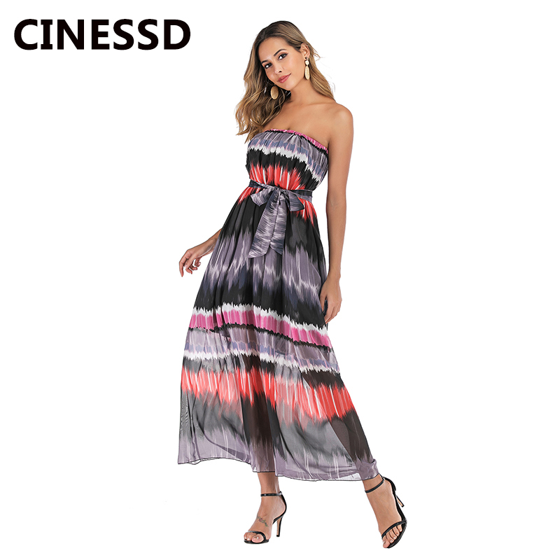 CINESSD Women Print Chiffon Dress with Belt Sexy Strapless Off The Shoulder High Waist A Line Lace Up Beach Party Maxi Dresses