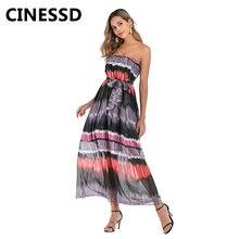 Женское шифоновое платье с поясом cinessd принтом без бретелек