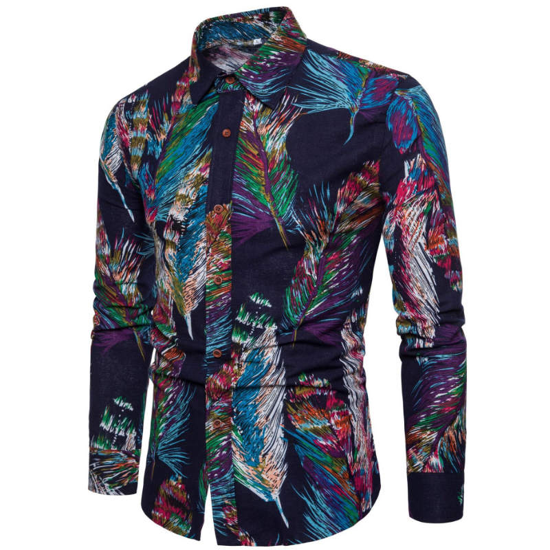 2019 New Fashion Casual Men Shirt Long Sleeve Europe Style Slim Fit Shirt Men High Quality Cotton Floral Shirts Mens Clothes 5XL