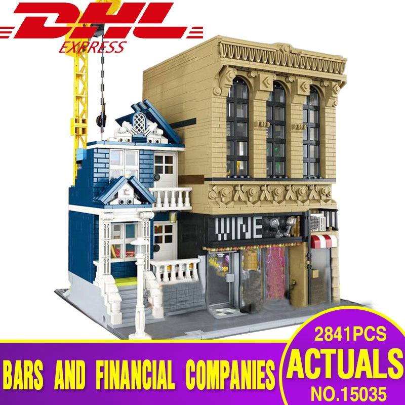 2018 Lepin 15035 Genuine Creative Streetsight MOC Series The Bars and Financial Companies Set Building Blocks Bricks legoing Toy