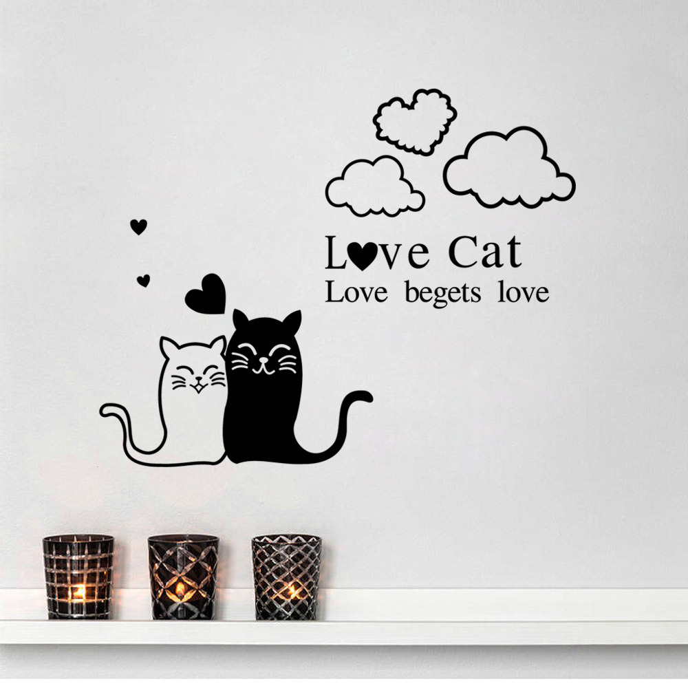 Wall stickers cat - 2017 New Design Love Cat Couple Wall Stickers Living Room Home Decor Home Decoration Wall Sticker For Kids Rooms Wall Decals In Wall Stickers From Home