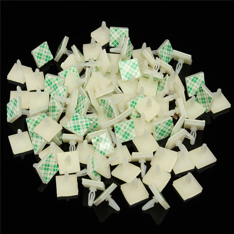 MTGATHER 100 PCS HC-5 Nylon Plastic Stick On PCB Spacer Standoff Locking Snap-In Posts Fixed Clips Adhesive 3mm Hole Support