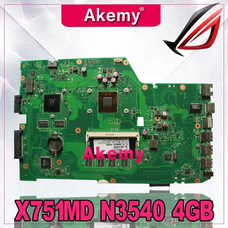 AkemyX751MD Motherboard rev2.0-N3540 4GB For ASUS k751M K751MA X751MA R752M laptop Motherboard X751MD Mainboard 100%AkemyX751MD Motherboard rev2.0-N3540 4GB For ASUS k751M K751MA X751MA R752M laptop Motherboard X751MD Mainboard 100%