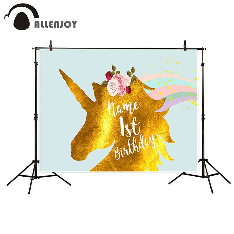 Allenjoy photo background unicorn backdrop birthday background golden rainbow stars flowers for baby party photo booth