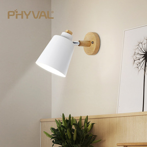 Image 2 - wooden wall lights bedside wall lamp wall sconce modern wall light for bedroom Nordic macaroon 6 color steering head E27 85 285V