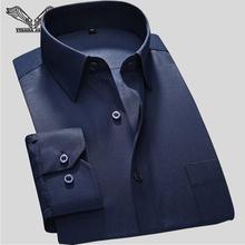 2016 New Popular Brand Business Men Shirt Striped Cotton Long Sleeves Turn down Collar High Quality
