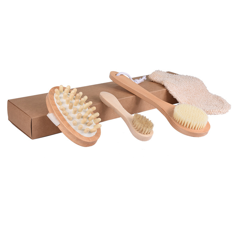 4Pcs/Set Qualified Shower Brush Boar Bristles Soft Bath Brush Exfoliating Body Massager With Long Wooden Handle