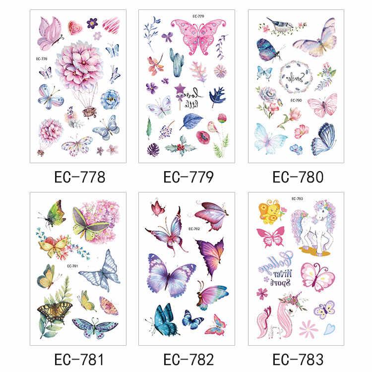 Rocooart mariposa tatuaje adhesivo para niños, regalo de cumpleaños, lindo tatuaje falso para niños, arte corporal a prueba de agua, tatuajes temporales de dibujos animados