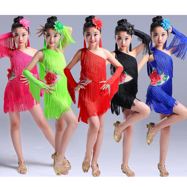 03dac2ff1 Girls Sequined Ballroom latin dancing dress Children Tassels Modern ...