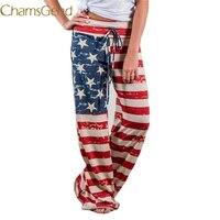 Chamsgend floral bandera americana cordón más tamaño Academia Pantalones mujeres 2017 pierna ancha Leggings casual Pantalones caliente 78 #