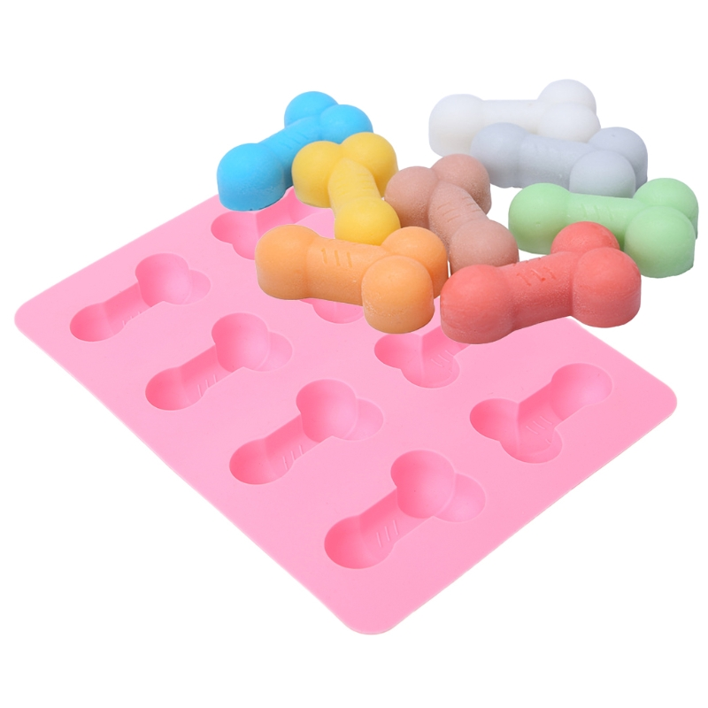 Beautiful workmanship 8-Cavity Pink 3D Penis Shape Silicone Ice Cube Maker Tray DIY Chocolate Mold
