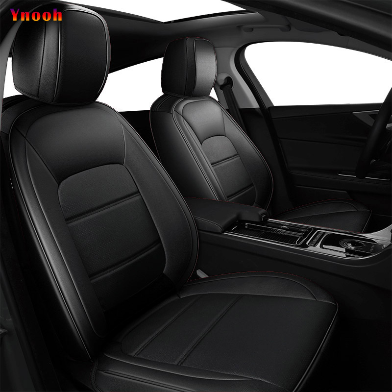 Black Grey Quilted Leather Car Seat Covers Set For Chrysler Ypsilon 2011-2015