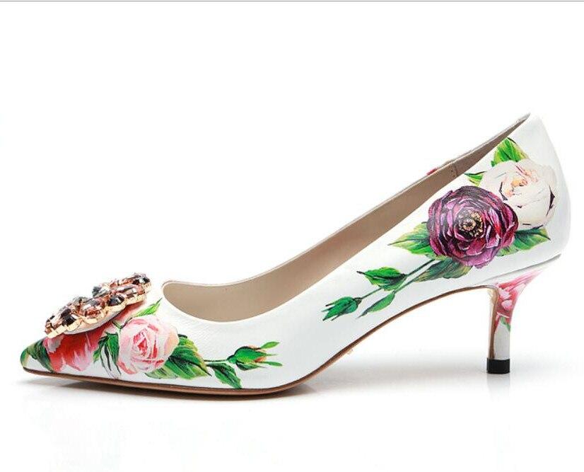 高級花柄ハイかかと光沢のあるクリスタルブライダルウェディングパーティー靴レディースポインテッドトゥスティレット女性 5 センチメートル 9 センチメートルかかと  グループ上の 靴 からの レディースパンプス の中 2