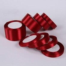 6 мм 10 мм 15 мм 20 мм 25 мм 40 мм 50 мм бордовые шелковые атласные ленты для рождественской свадебной вечеринки украшения для упаковки подарков винно-красные ленты
