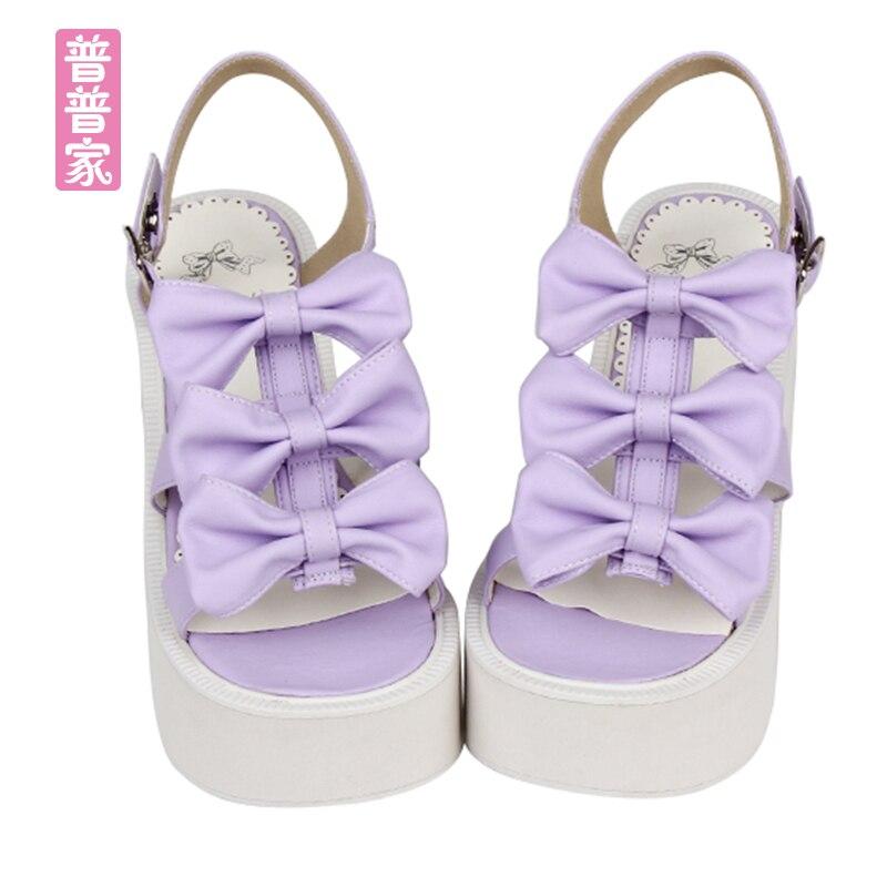 Princess sweet lolita shoes Lolita soft sister sweet round wedge sandals dress Princess Butterfly muffin sandals women pu8512