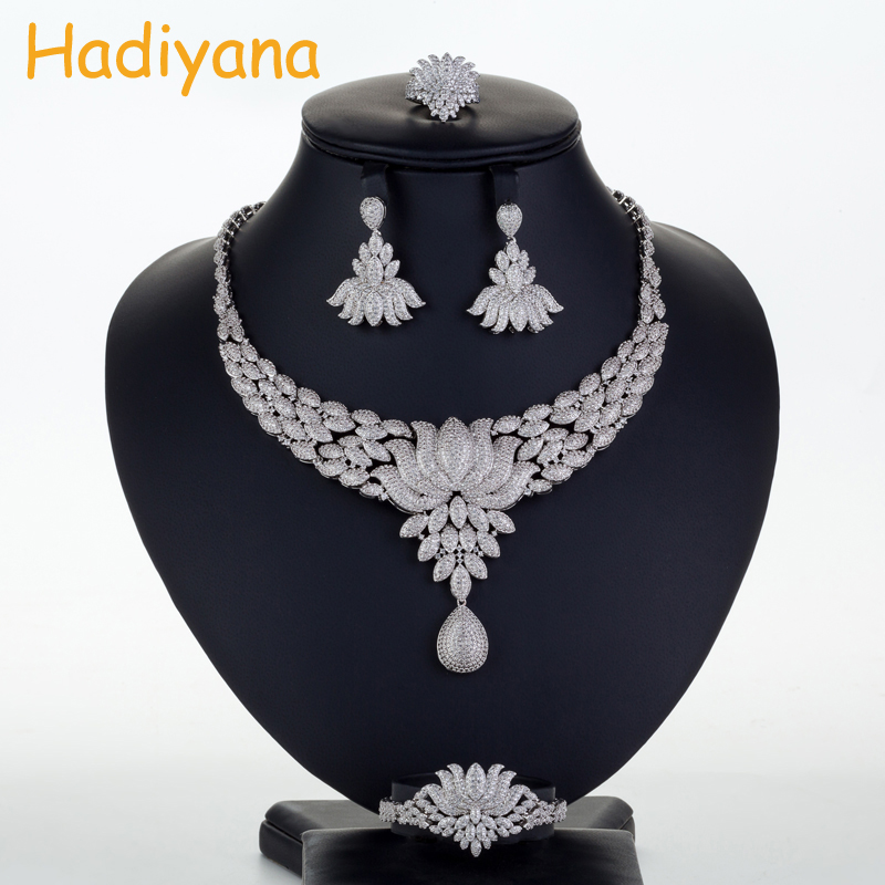 Hadiyana New Bridal Wedding Jewelry Sets Cubic Zinconia Amazing Design Princess Lotus Skirt 4pcs Big Set Necklace Copper CN713-in Jewelry Sets from Jewelry & Accessories    1