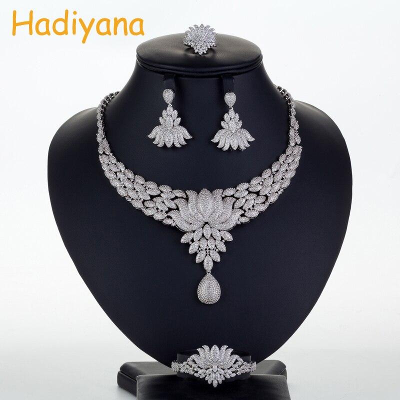 Hadiyana Bridal Wedding Jewelry Sets Cubic Zinconia Amazing Princess Lotus Skirt 4pcs Big Set Necklace Copper CN713
